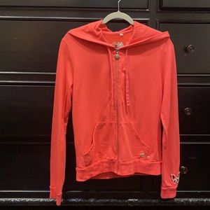 Exquisite Coral Twisted Heart Zip Up Jacket